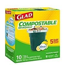Glad 100% Compostable OdourShield® Easy-Tie®  10 Biodegradable Bags - Tall