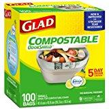 Glad - Small 100% Compostable Quick Tie Bin Bags   Biodegradable 100 Pack