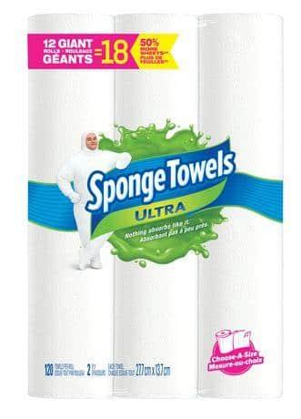 Sponge Towels Ultra Choose-A-Size Giant 2 Ply Towel  12 Rolls