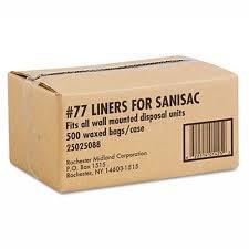 Sanisac Sanitary Liners - #77 Hygiene Waxed Feminine Disposal Bags   500 Case